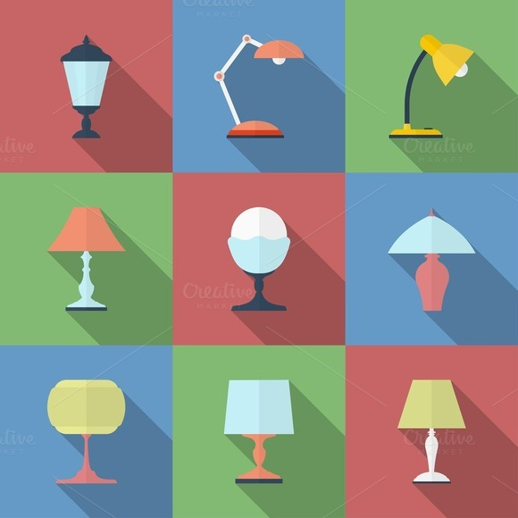 Icon Set Of 9 Lamps