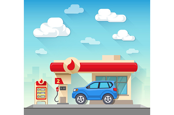 Gas Station And Car
