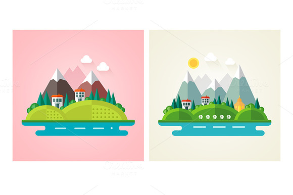 Nature Landscape Flat Icons