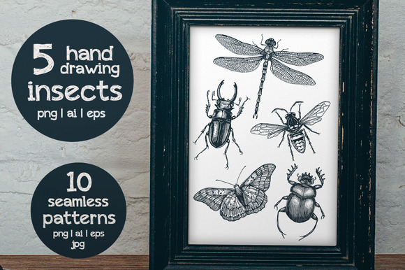 5 Hand-drawn Insects Patterns