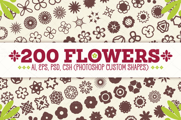 200 Flowers Vector Shapes Set