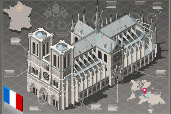 Isometric Infographic Notre Dame
