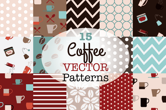 Coffee And Tea Vector Patterns