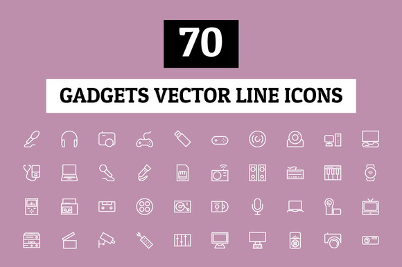 70 Gadgets Vector Line Icons