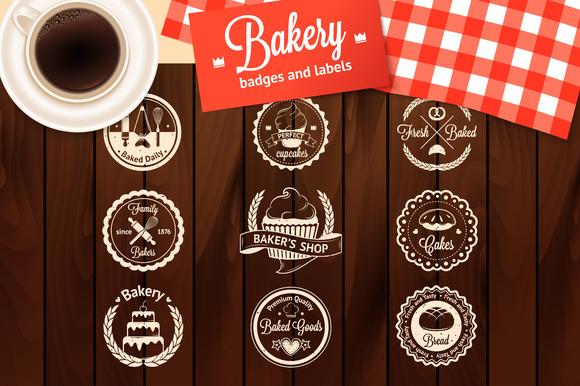 Set Of Vintage Bakery Badges