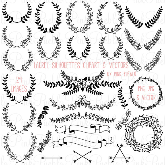 Laurel Silhouettes Clipart Vectors