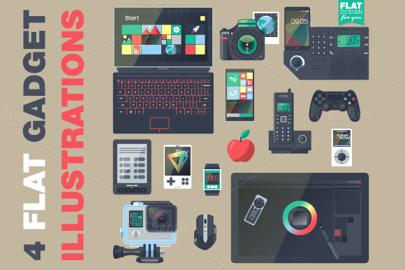Gadgets In Flat Style