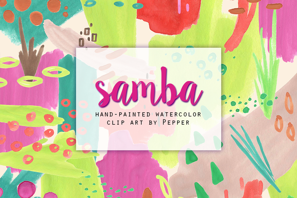 Bright Abstract Tropical Watercolor