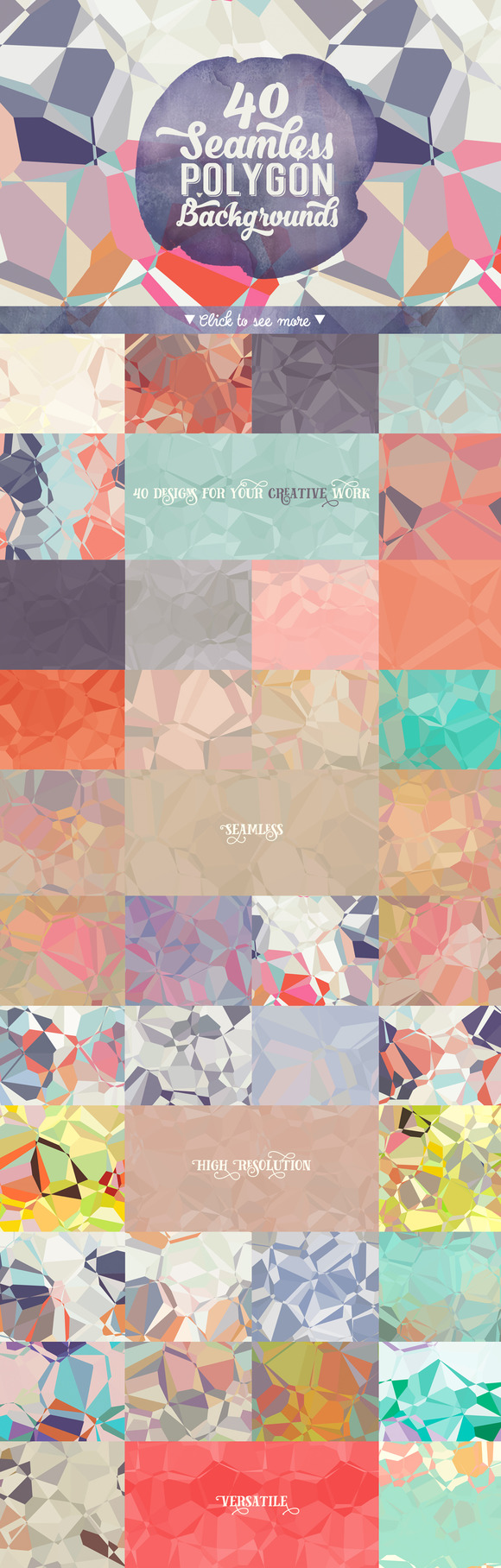 40 Seamless Polygon Backgrounds