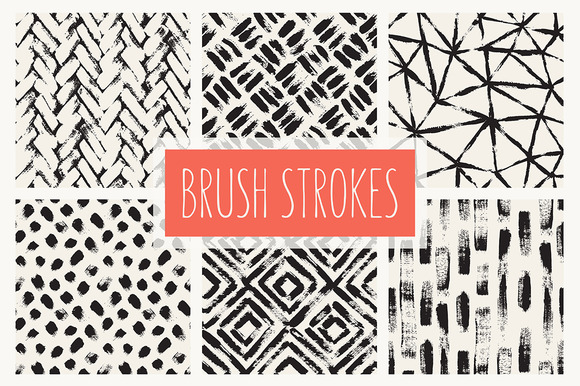 Brush Strokes Seamless Patterns Set
