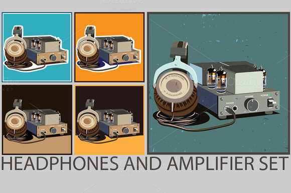 Retro Headphones And Amplifier Set