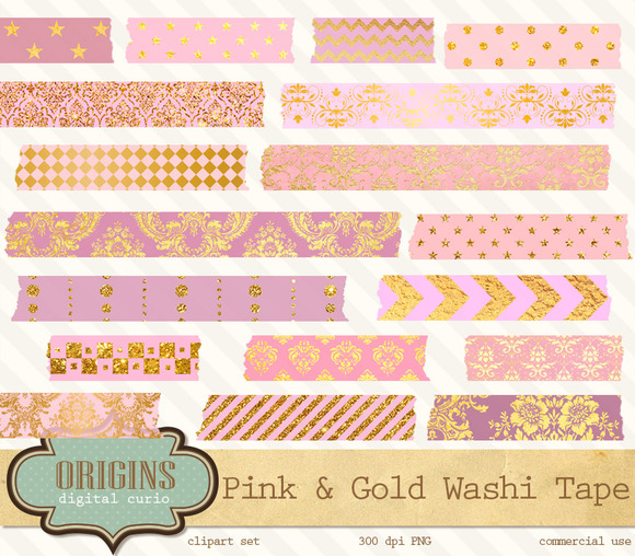 Pink And Gold Digital Washi Tape