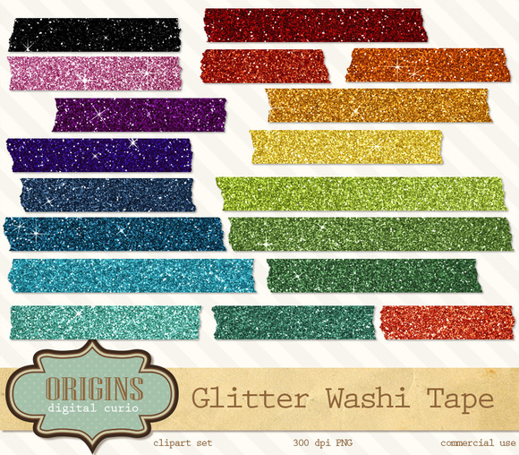 Glitter Digital Washi Tape Clipart