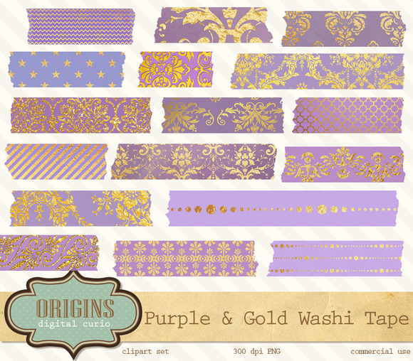 Purple And Gold Digital Washi Tape