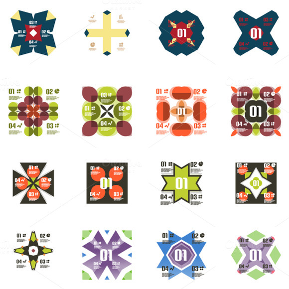 16 Geometric Infographics Set 2