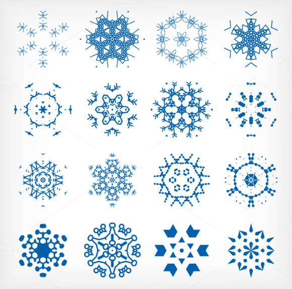 Vector Snowflakes Set 1