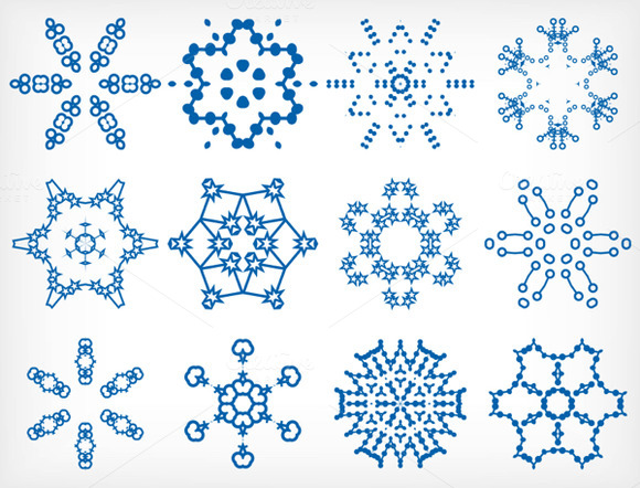 Vector Snowflakes Set 2