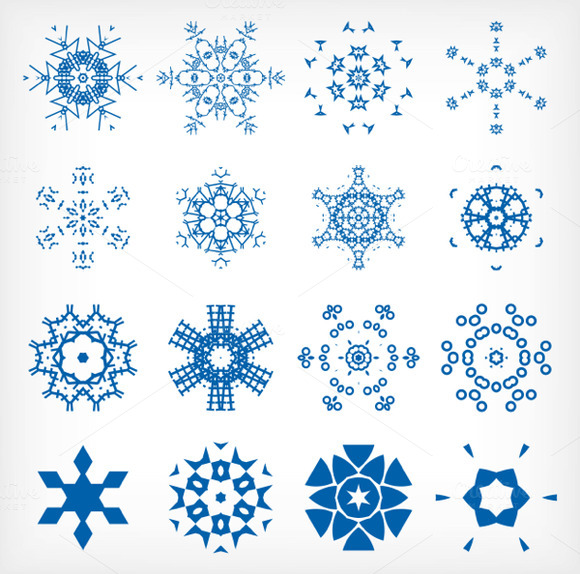 Vector Snowflakes Set 4
