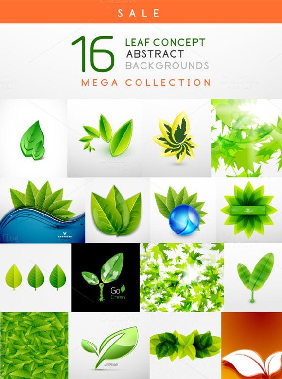 16 Leaf Backgrounds Set 1