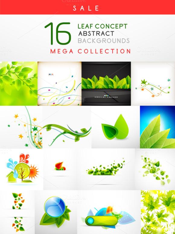 16 Leaf Backgrounds Set 2