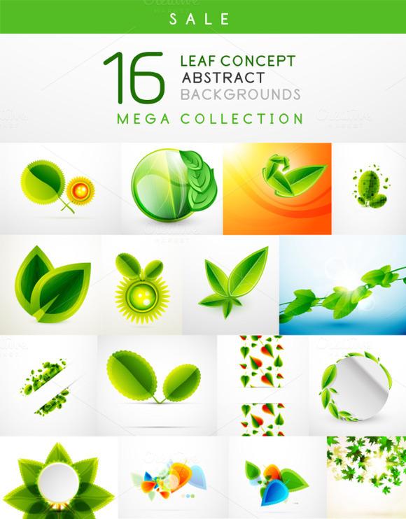 16 Leaf Backgrounds Set 3