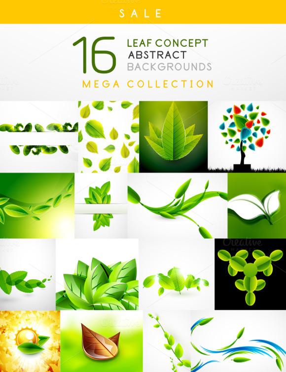 16 Leaf Backgrounds Set 4
