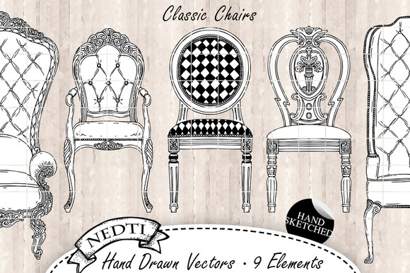 Classic Chairs Hand Sketched Vector