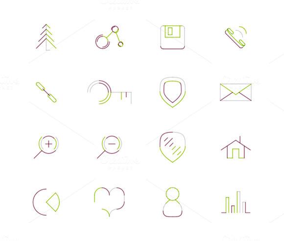 16 Thin Web Icons Set 1