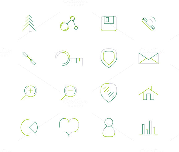 16 Thin Web Icons Set 2