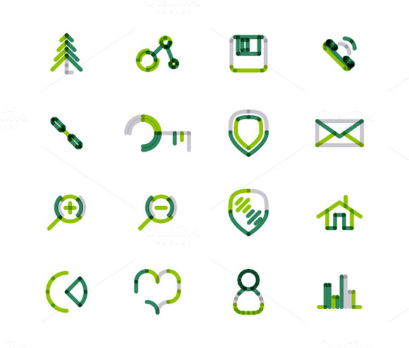 16 Thin Web Icons Set 4