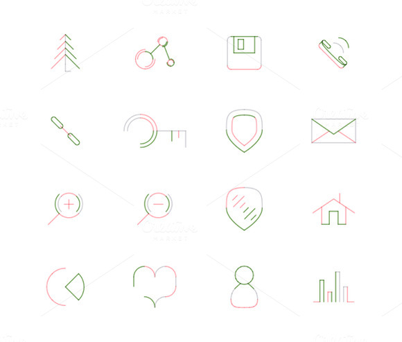 16 Thin Web Icons Set 5