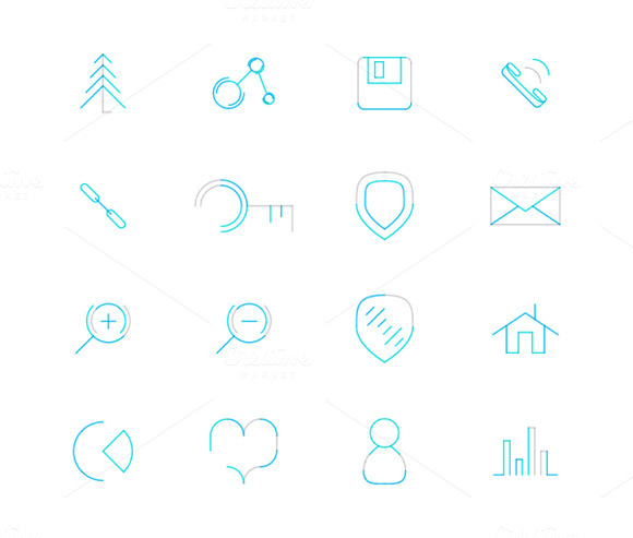 16 Thin Web Icons Set 9
