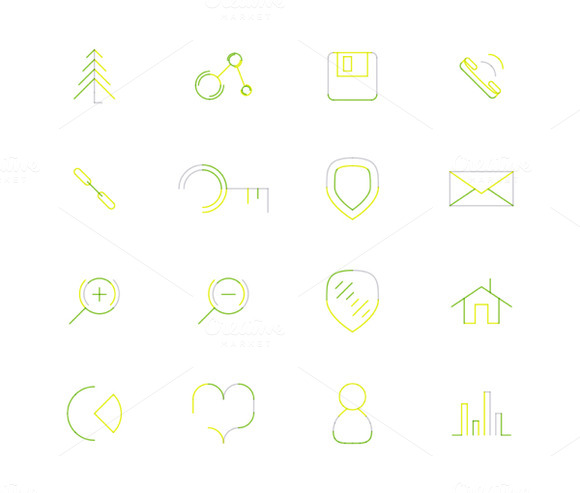 16 Thin Web Icons Set 12