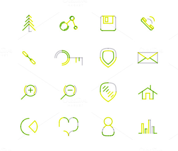 16 Thin Web Icons Set 13