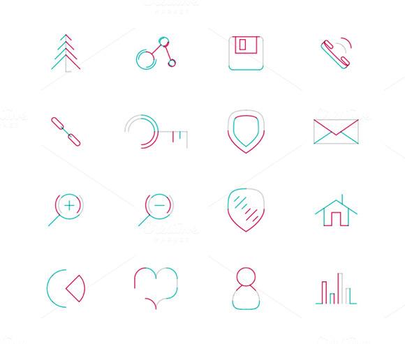 16 Thin Web Icons Set 16