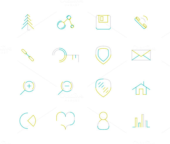 16 Thin Web Icons Set 18