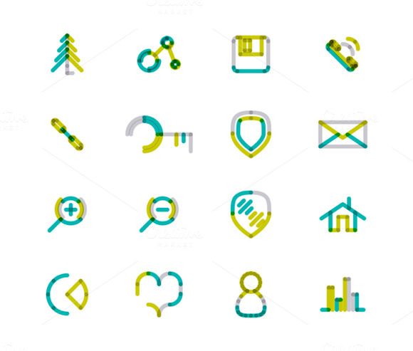 16 Thin Web Icons Set 19