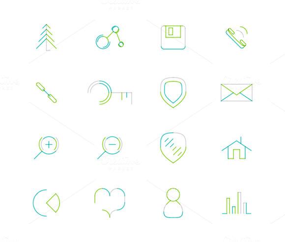 16 Thin Web Icons Set 20
