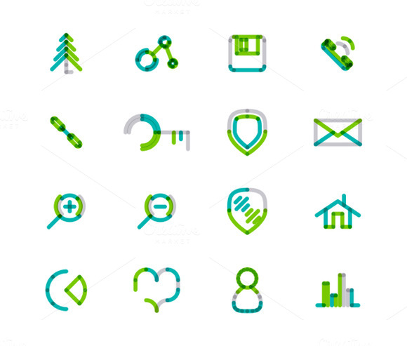 16 Thin Web Icons Set 22