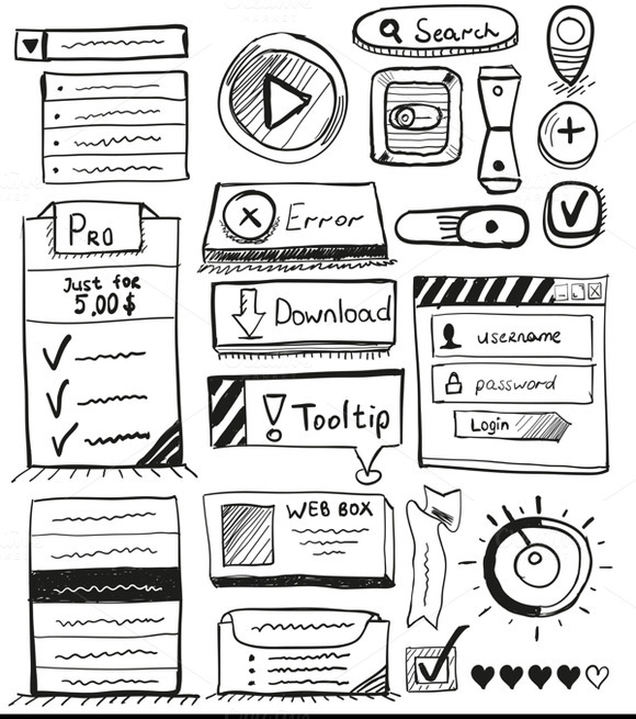 Hand-drawn UI Doodles