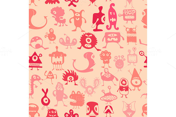 Vector Monsters Pattern