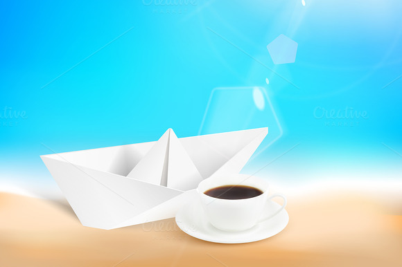 Paper Ship With Coffee Cup Over Sand