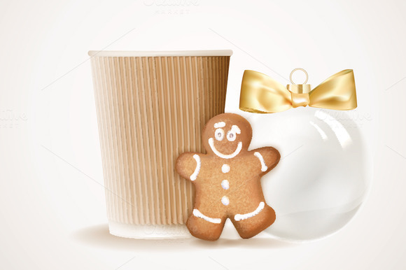 Paper Coffee Cup And Gingerbread Man