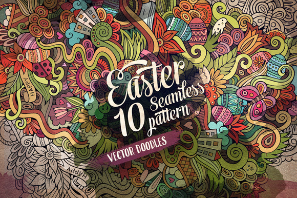 10 Easter Doodles Endless Patterns