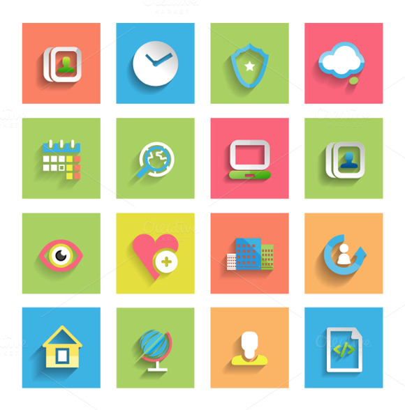 16 Flat Universal Web Icons Set