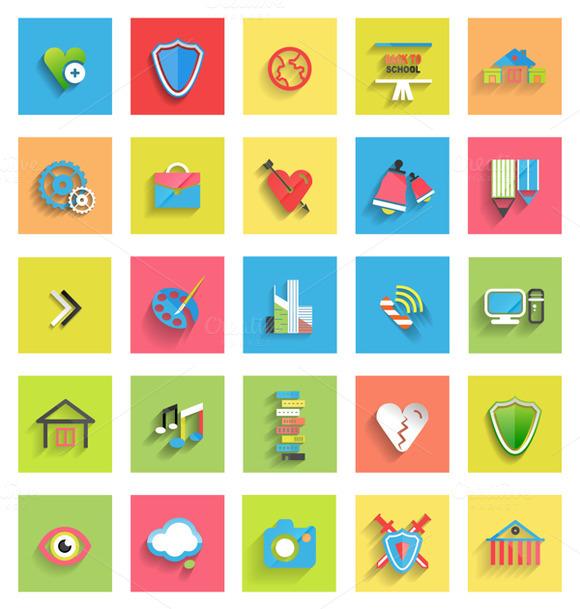 School And Arts Flat Icons Set