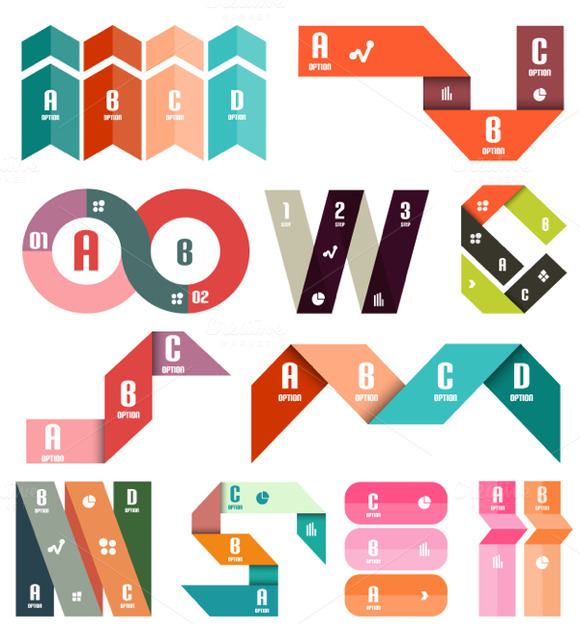 Paper Stripe Infographic Designs