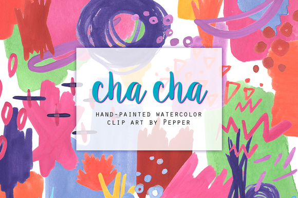 Bright Abstract Watercolor Clip Art