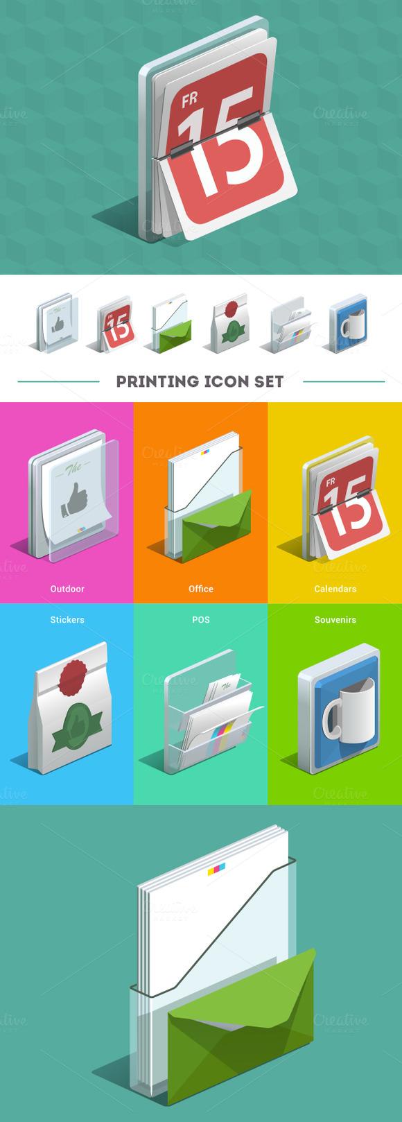 Printing Isometric Icon Set