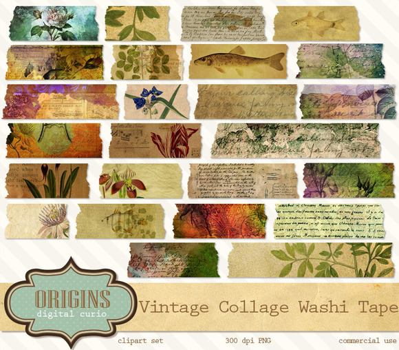 Digital Collage Washi Tape Clipart